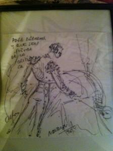 Dibujo en una servilleta de Navalón