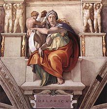 Sibila délfica, fresco de Miguel Ángel en la Capilla Sixtina